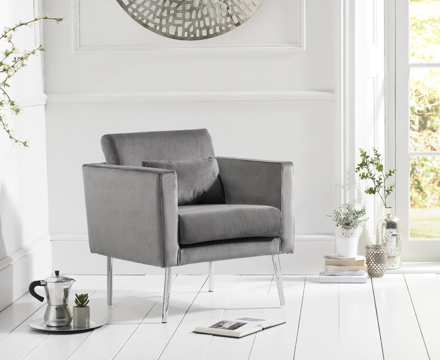 James Grey Velvet Accent Chair