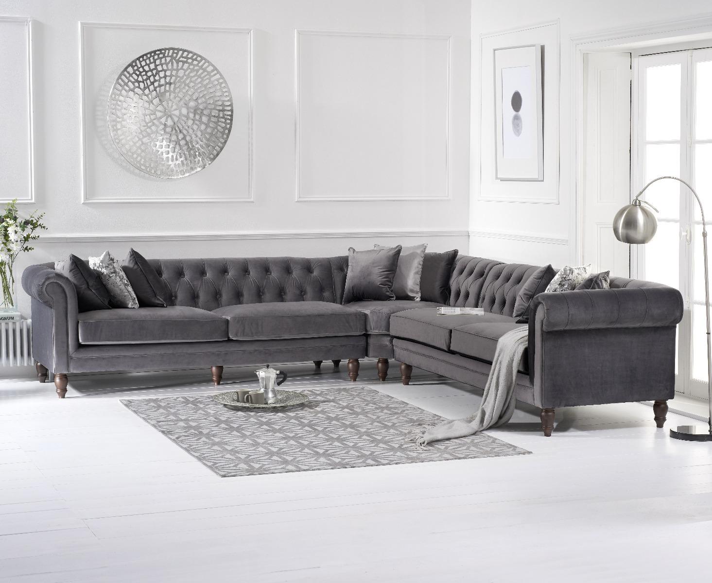 Limoges Grey Velvet Corner Sofa