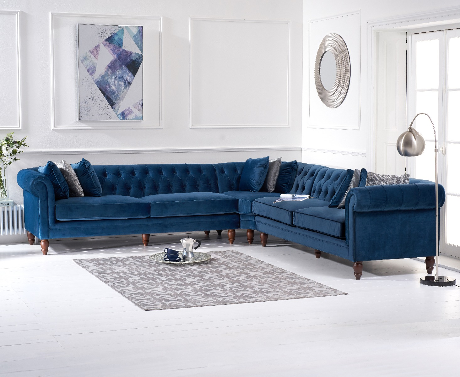 Limoges Blue Velvet Corner Sofa