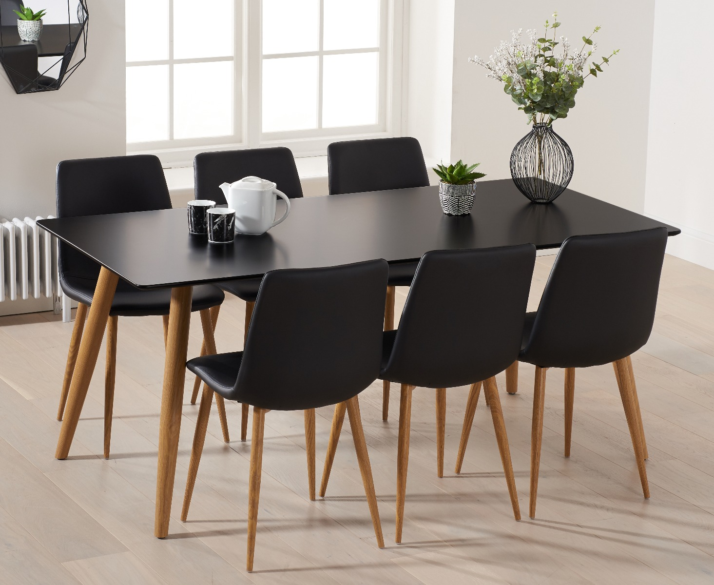 Miraculous Malmo 180Cm Black Table With Helsinki Round Leg Faux Leather Chairs Uwap Interior Chair Design Uwaporg