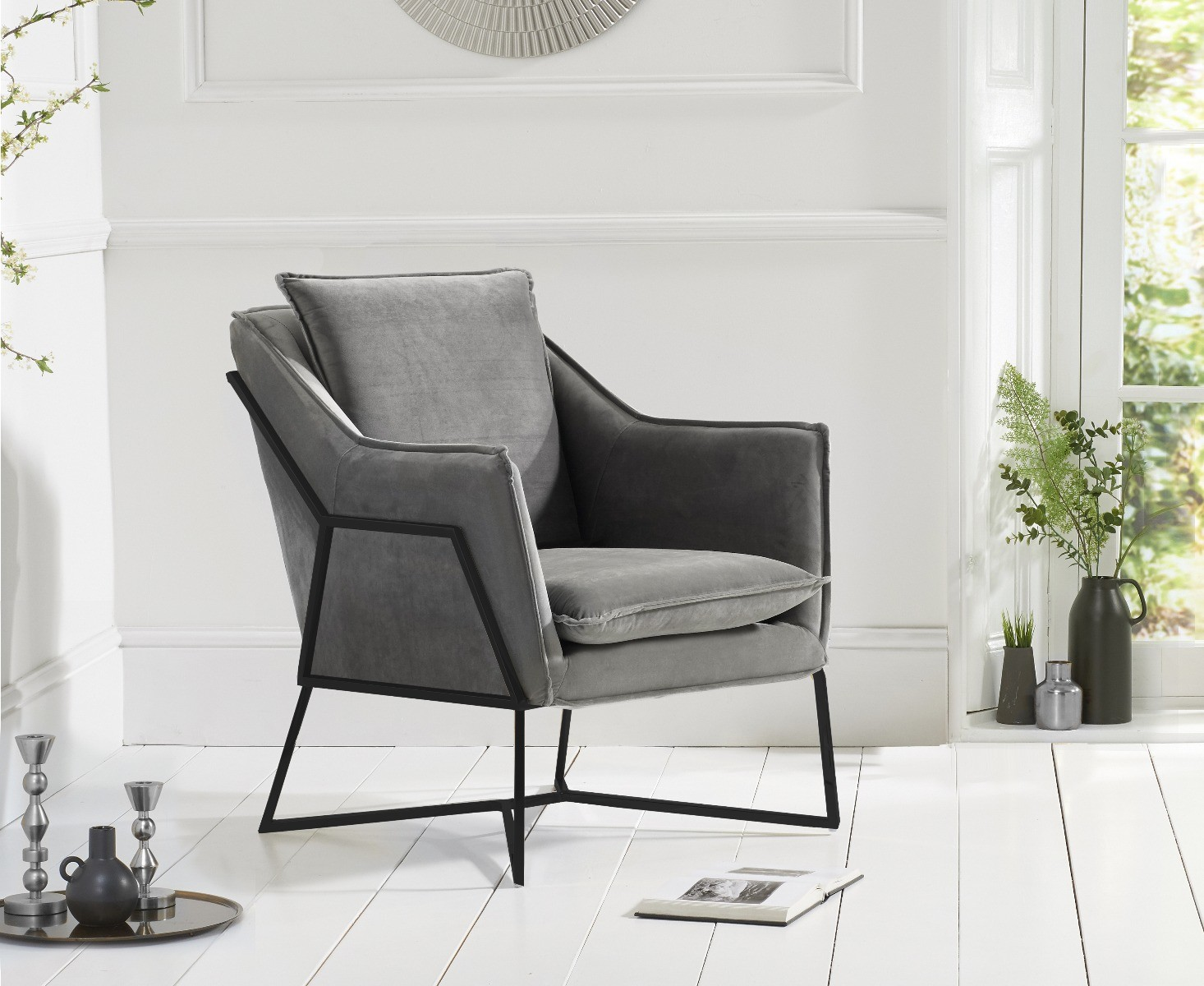 Picture of: Lara Grey Velvet Accent Chair With Black Legs