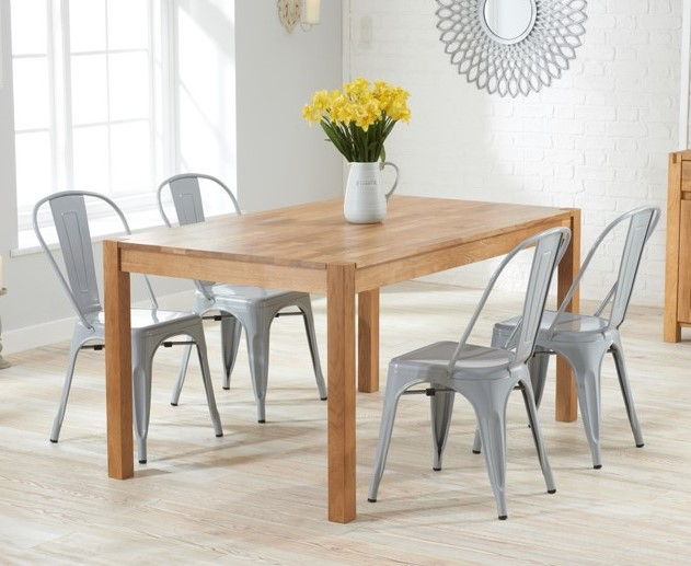 Oxford 120cm Oak Dining Table With Tolix Industrial Style Dining Chairs