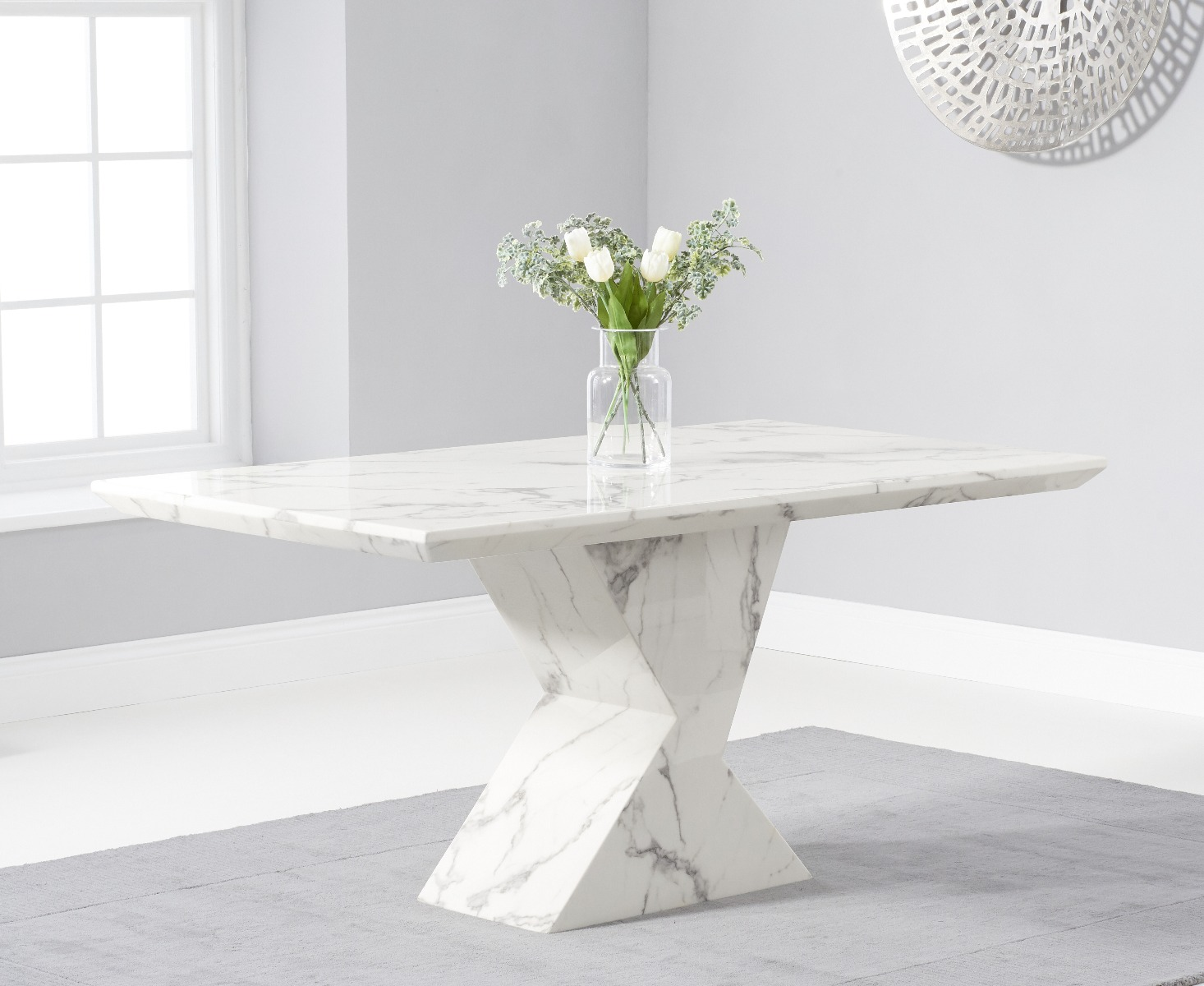 Aaron 160cm Marble White Dining Table, Aarons Dining Room Sets