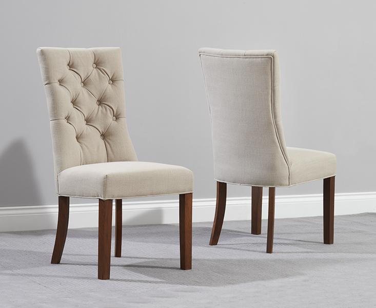 Anais Beige Fabric Dark Oak Leg Dining Chairs