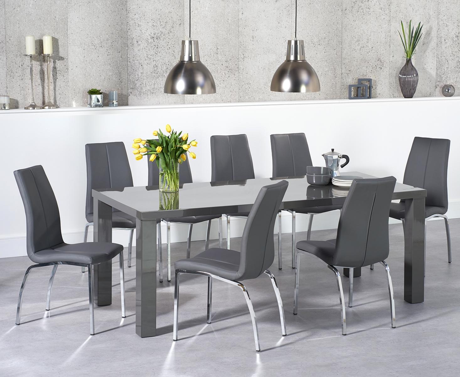 Atlanta 9cm Dark Grey High Gloss Dining Table with Cavello Chairs