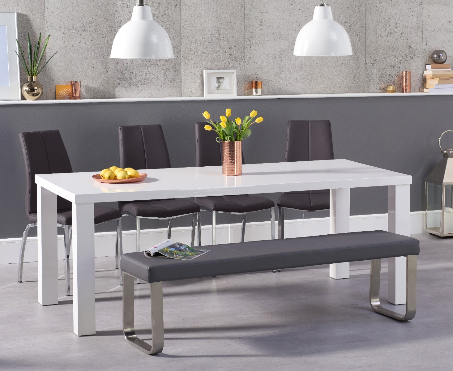 Atlanta 180cm White High Gloss Dining Table With Cavello Chairs And Grey Bench