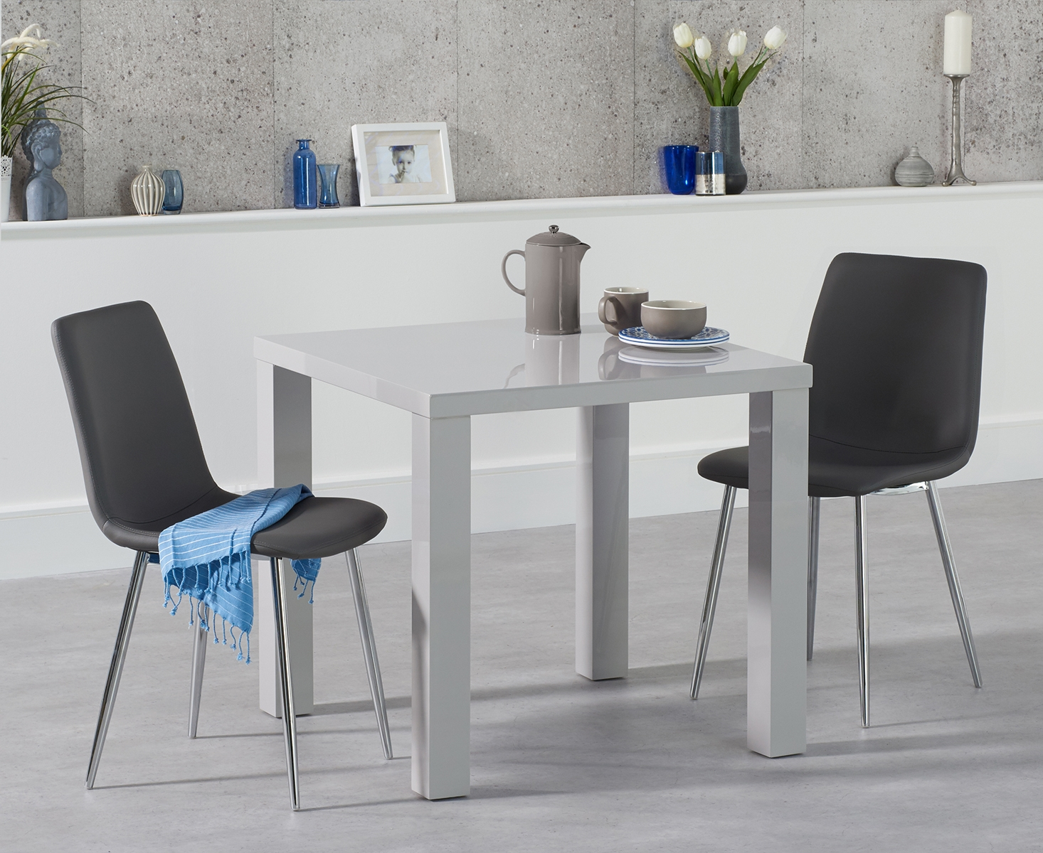 atlanta 80cm light grey high gloss dining table with helsinki faux