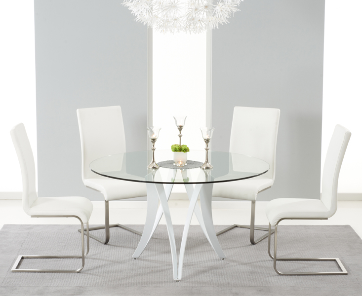 b24112f66a55 Berlin 130cm Glass and White High Gloss Round Dining Table with Malaga  Chairs