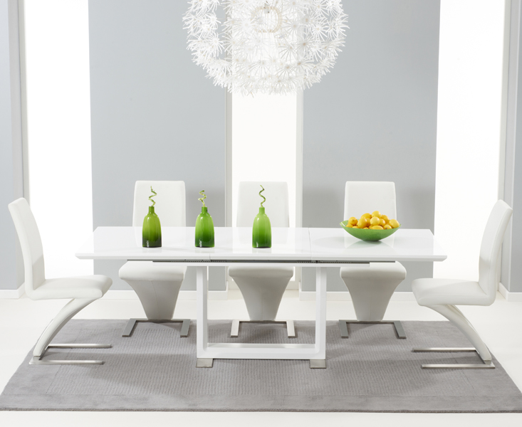 Bianco 160cm White High Gloss Extending Dining Table with Hampstead Z Chairs 521875def