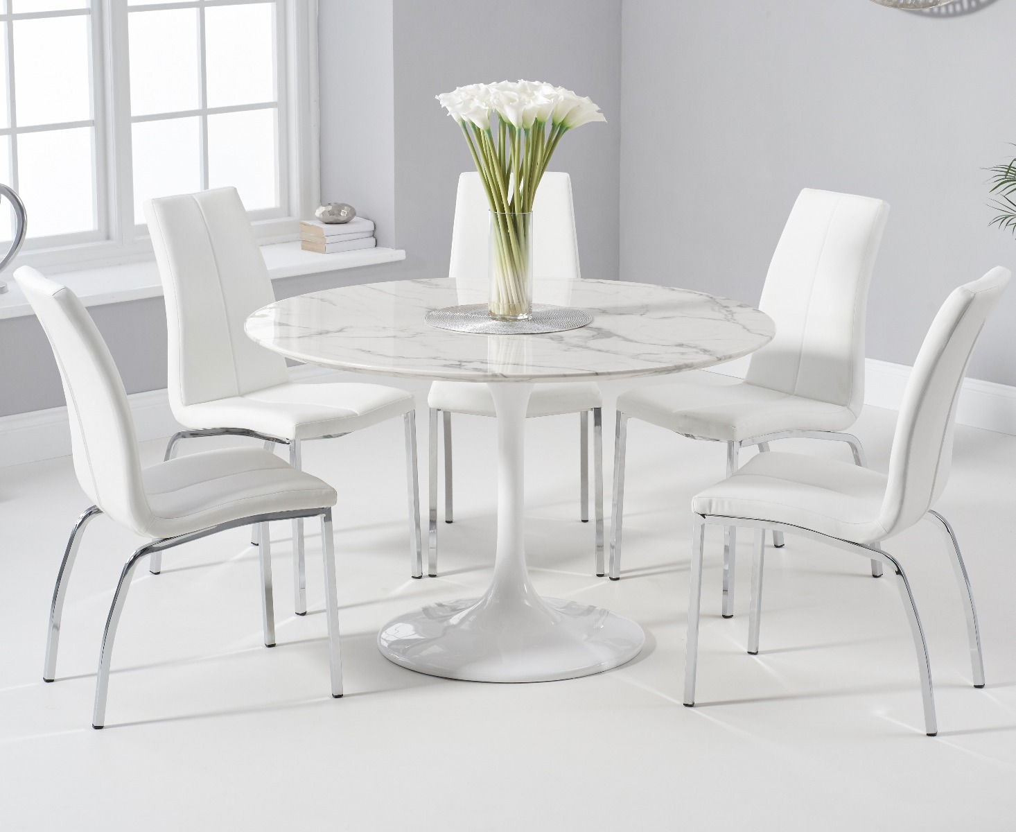 purchase cheap 5a57d c9112 Brighton 120cm Round White Marble Dining Table With Cavello Dining Chairs