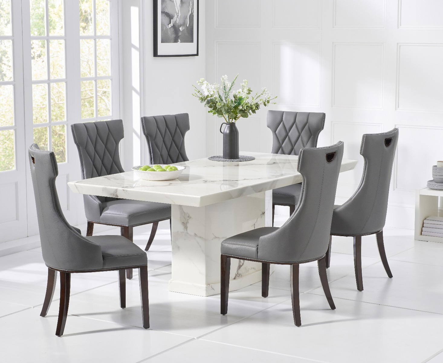 Picture of: Carvelle 160cm White Pedestal Marble Dining Table With Freya Chairs