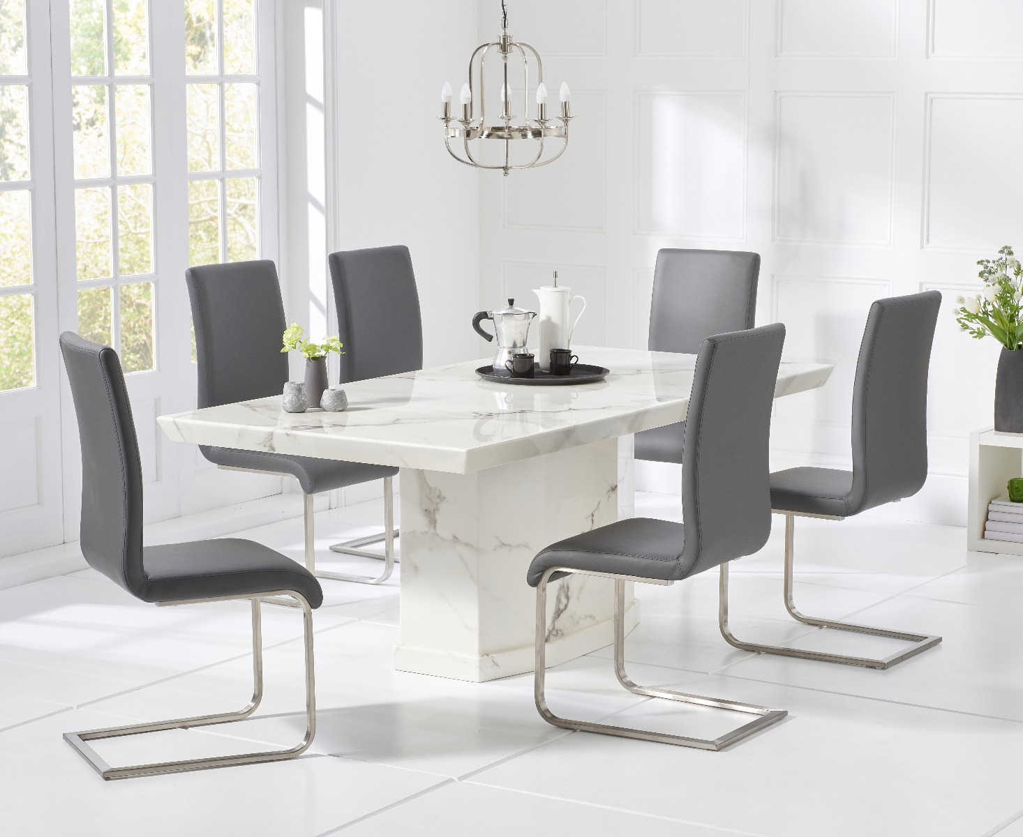 Outstanding Carvelle 200Cm White Pedestal Marble Dining Table With Malaga Chairs Ncnpc Chair Design For Home Ncnpcorg
