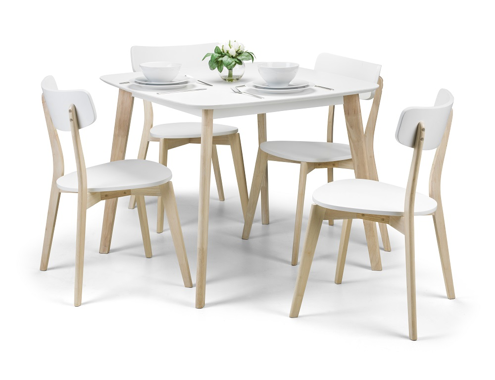 Manor Oak And White 90cm Square Dining Table And Chairs