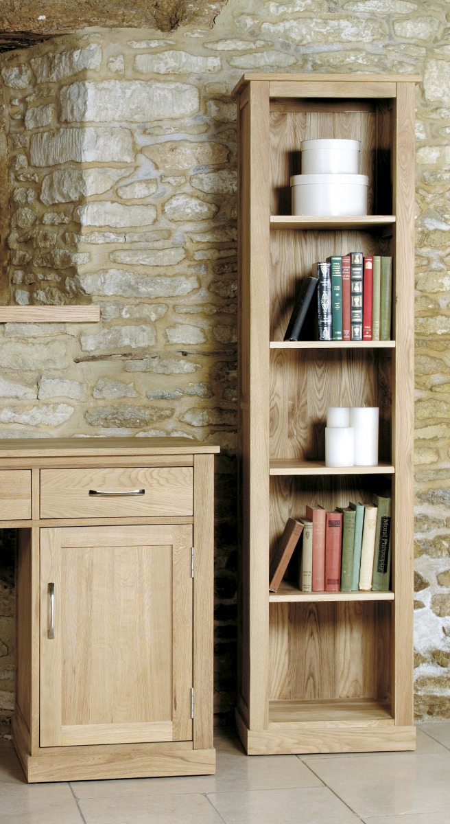 Rhone Solid Oak Narrow Bookcase