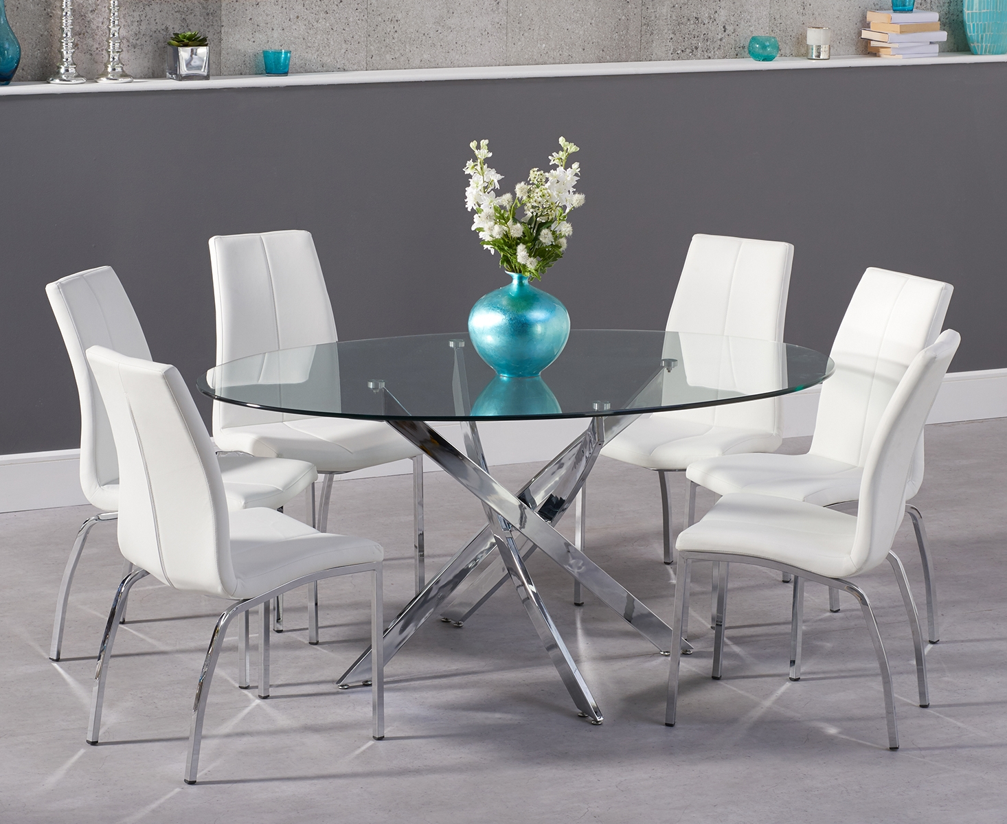 Denver 165cm oval glass dining table with cavello chairs