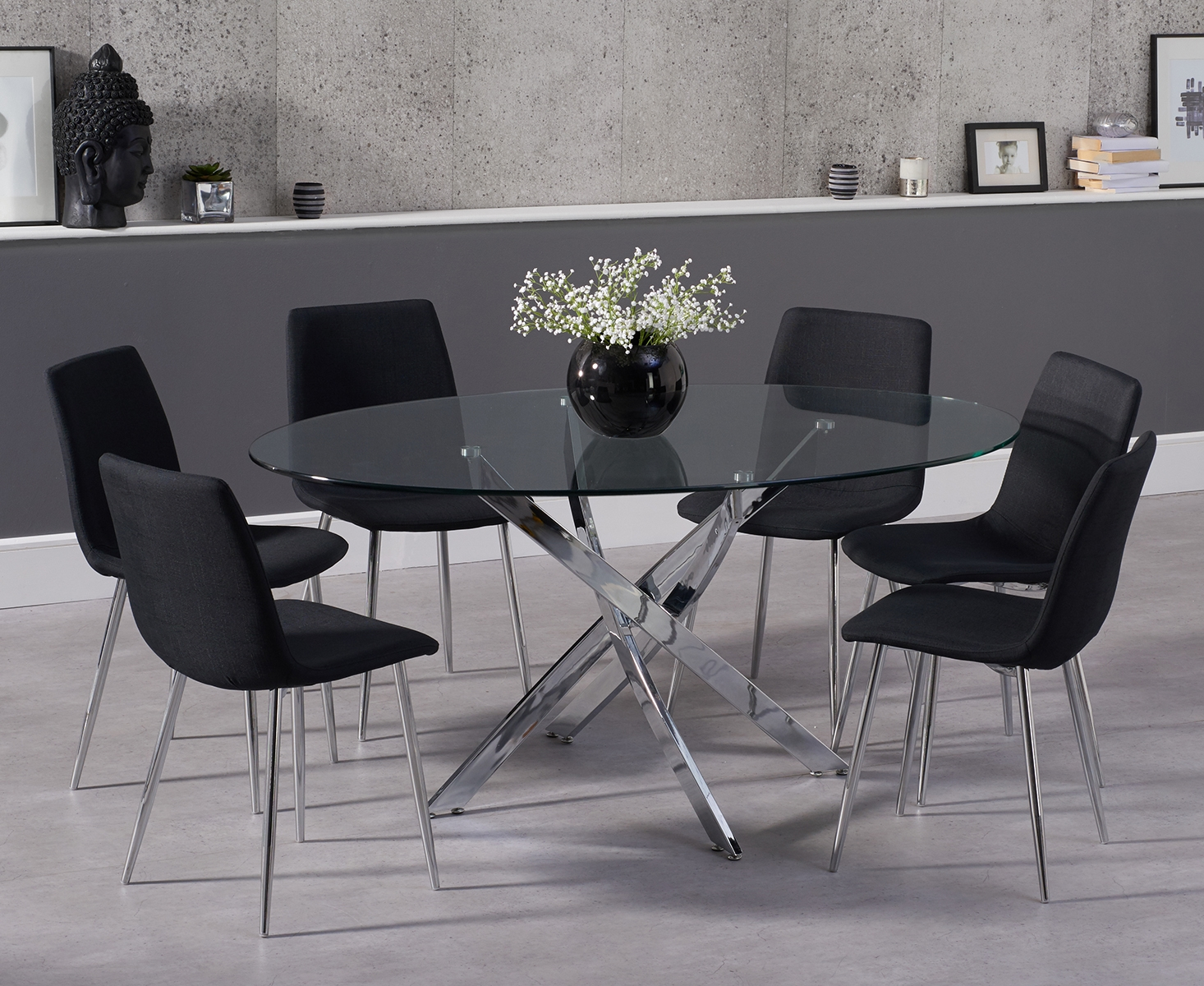 Picture of: Denver 165cm Oval Glass Dining Table With Helsinki Fabric Chairs