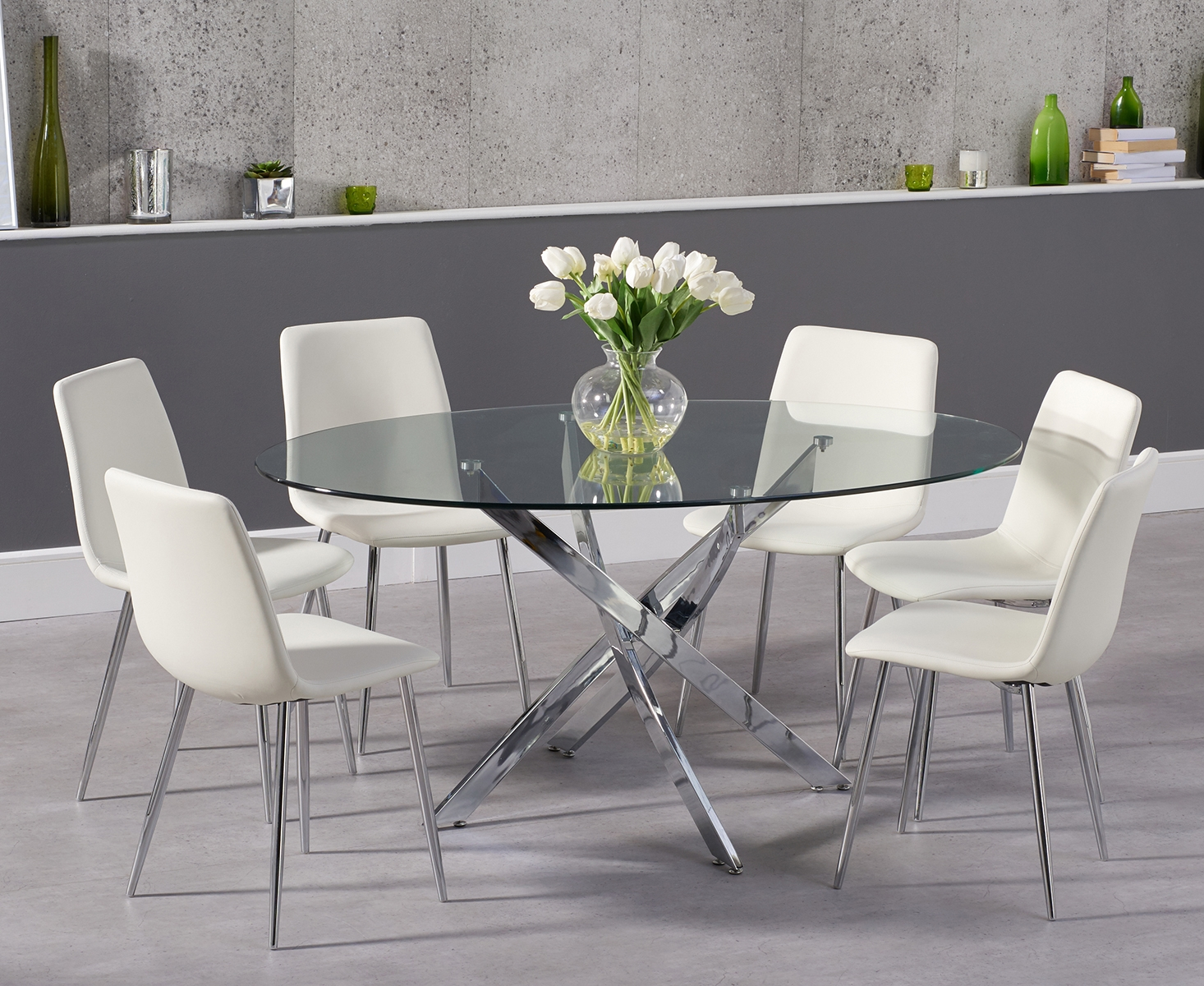 Denver 165cm oval glass dining table with helsinki faux leather chairs