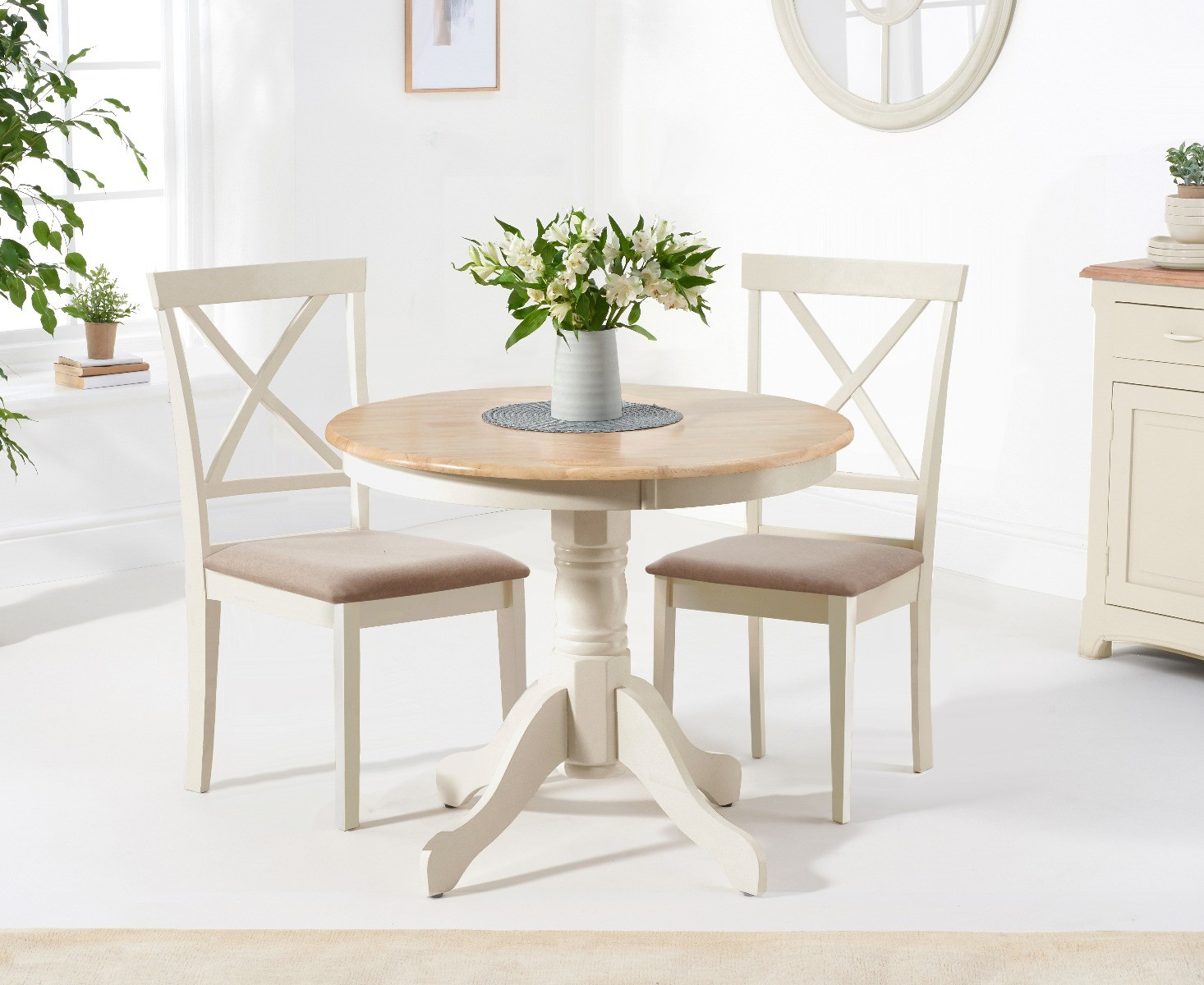 Epsom 9cm Oak and Cream Dining Table with Chairs with Fabric Seats