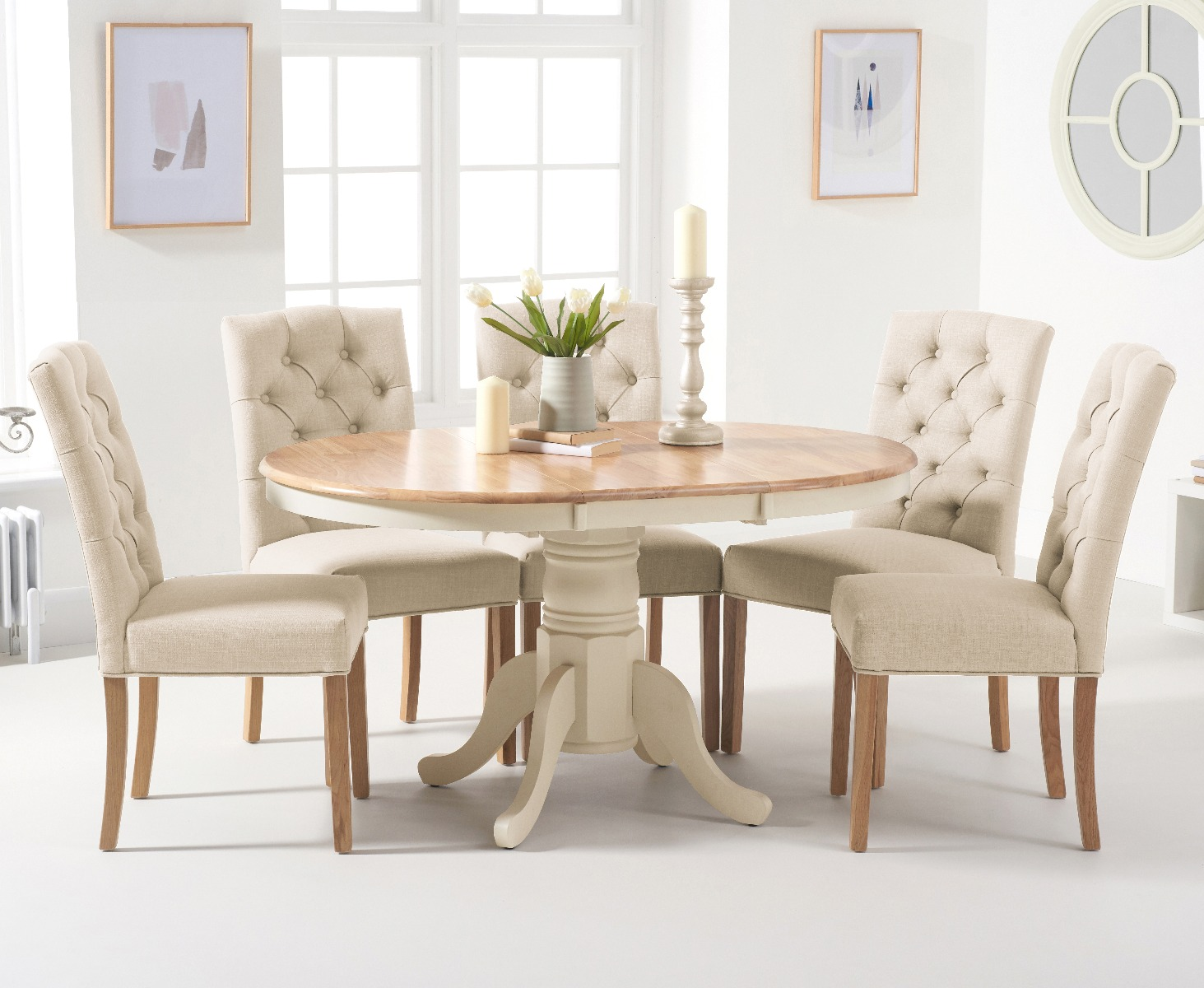 Oak Furniture Superstore & Epsom Oak and Cream Pedestal Extending Dining Table with Claudia Cream Fabric Dining Chairs