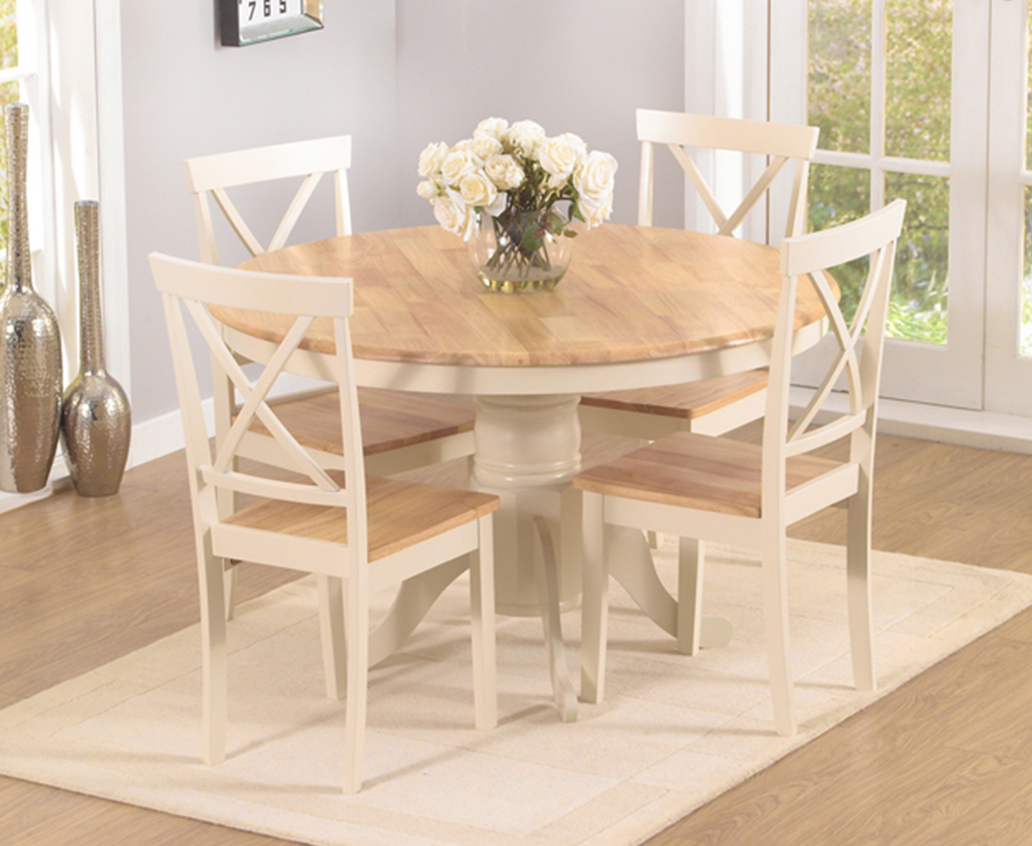 Epsom Cream 9cm Round Pedestal Dining Table Set with Chairs