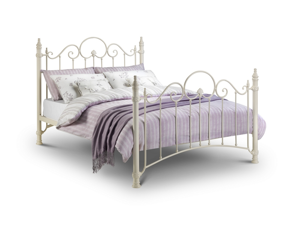 Florence Stone White Metal Bed – Single, Double or King