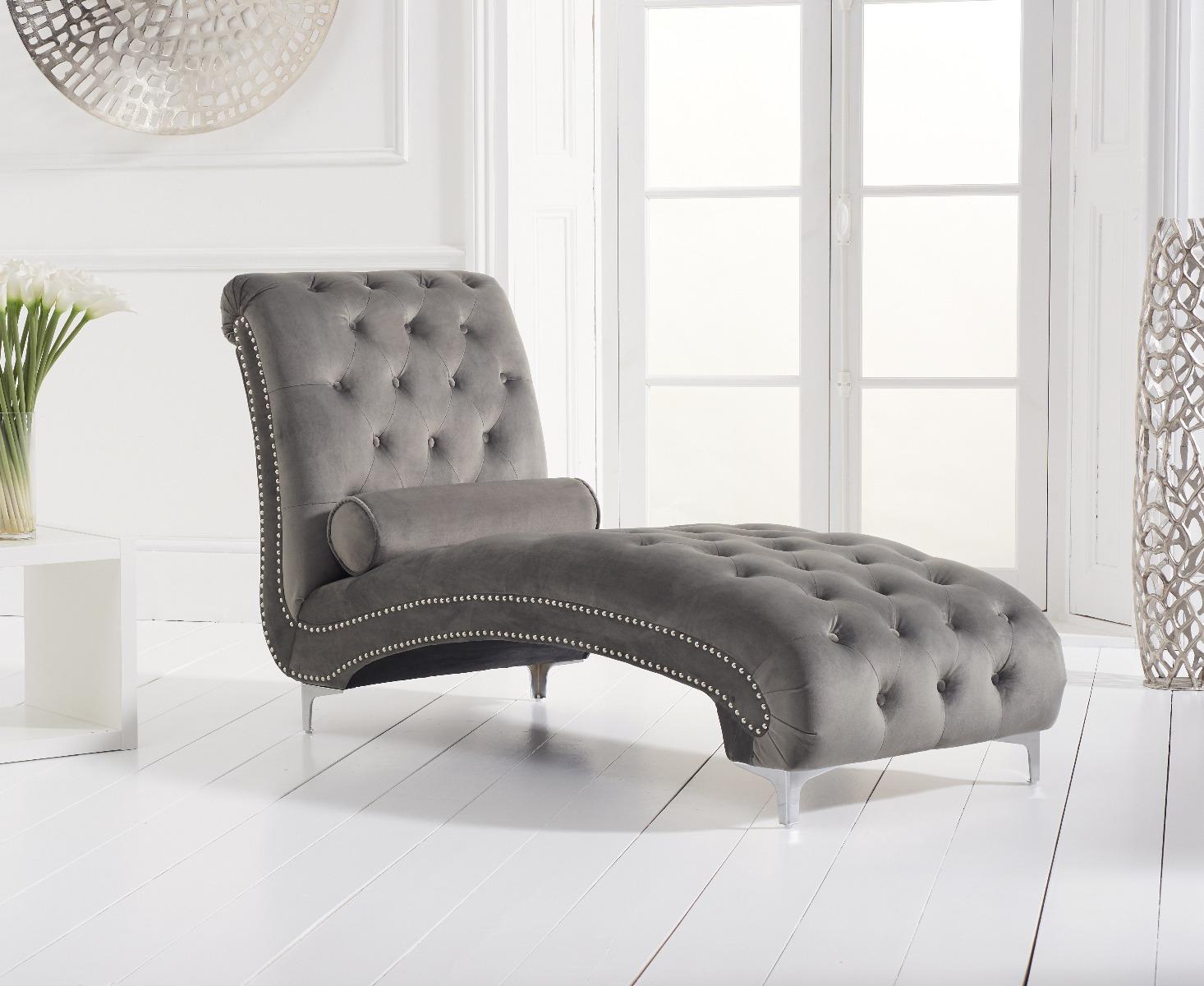 - New York Grey Velvet Chaise Lounge