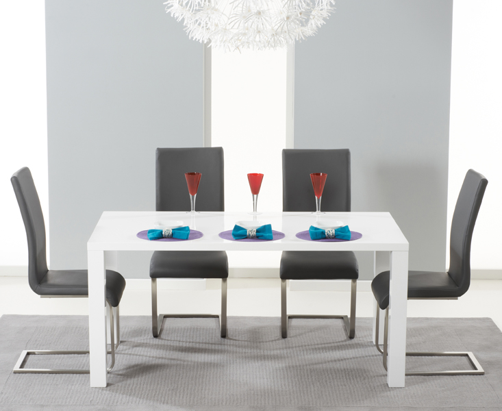 Atlanta 160cm White High Gloss Dining Table With Malaga Chairs