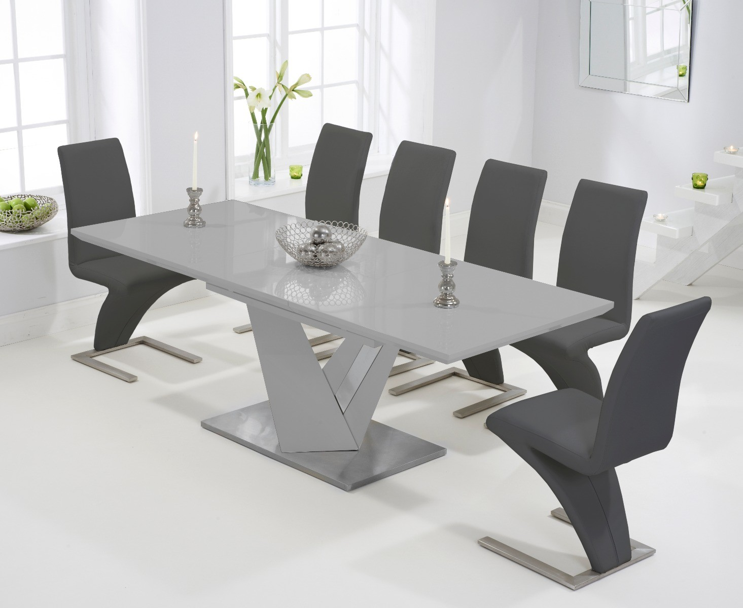 Harmony 9cm Extending Light Grey High Gloss Dining Table with Hampstead Z  Chairs