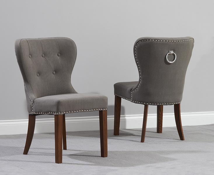 Stupendous Knightsbridge Studded Grey Fabric Dark Oak Leg Dining Chairs Download Free Architecture Designs Intelgarnamadebymaigaardcom