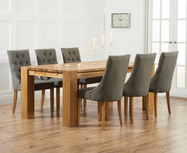 & Madrid 200cm Solid Oak Dining Table with Pacific Fabric Chairs