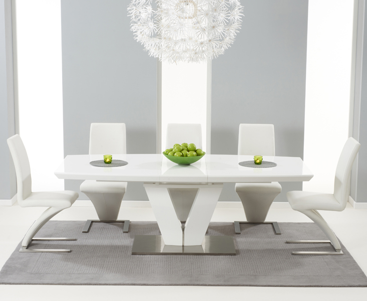 Malaga 180cm White High Gloss Extending Dining Table With Hampstead