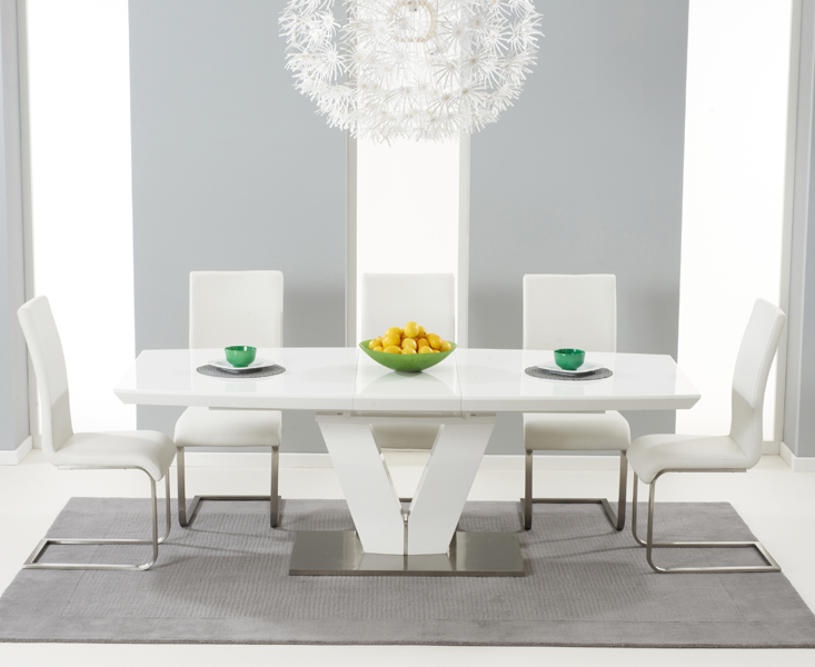 e6715f6f54c7 Malaga 180cm White High Gloss Extending Dining Table with Malaga Chairs