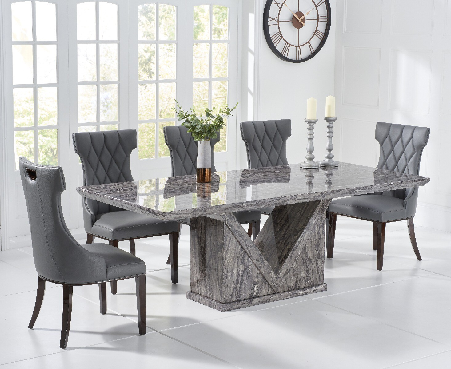 Picture of: Mocha 180cm Grey Marble Dining Table With Freya Chairs