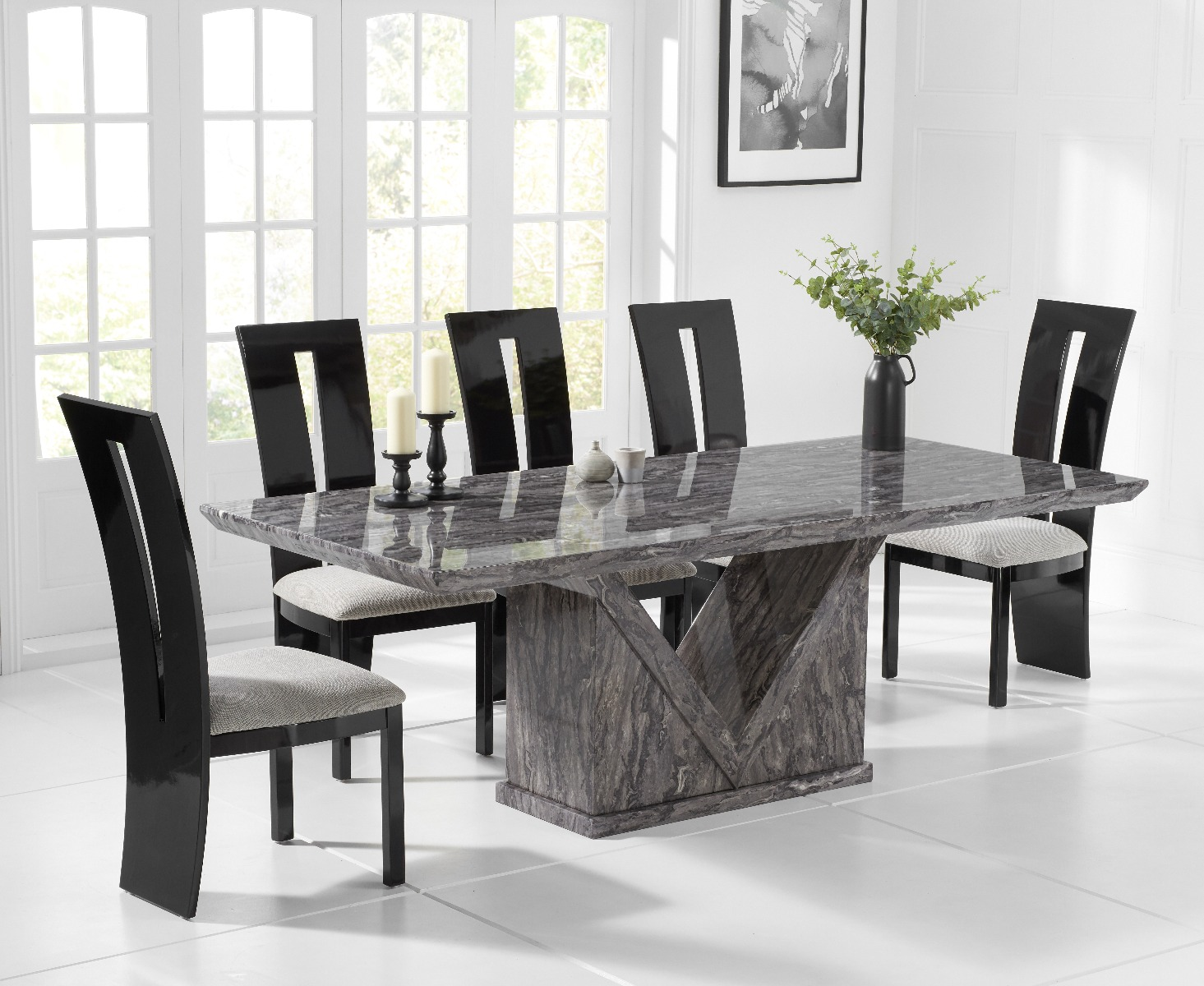 Mocha 180cm Grey Marble Dining Table With Verbier Chairs