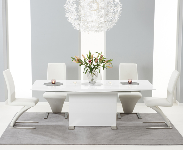 bba7bf87cb6d Modena 150cm White High Gloss Extending Dining Table with Hampstead Z Chairs