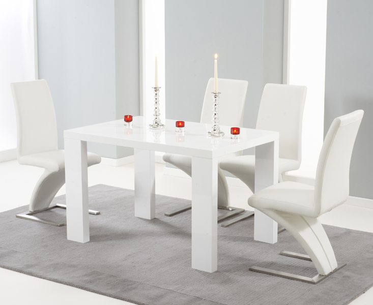4165bed63630 Monza 120cm White High Gloss Dining Table with Hampstead Z Chairs