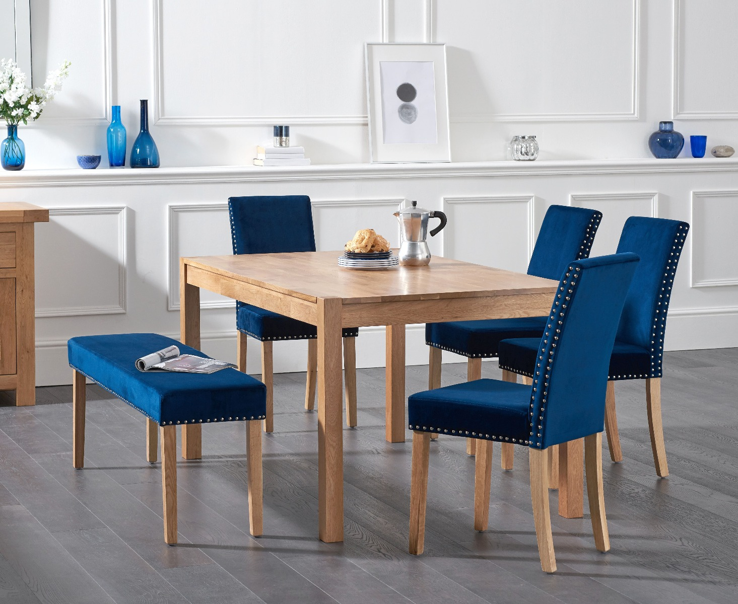 Oxford 150cm With Mia Plush Blue Studded Chairs Bench No Back 2