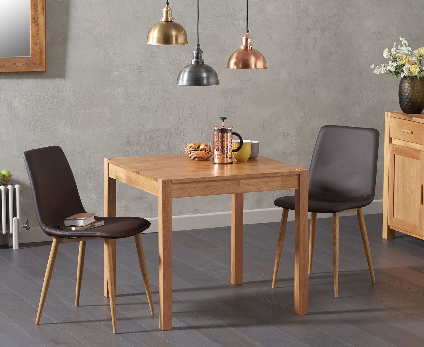 985edd6924c5 The Oxford 80cm Solid Oak Dining Table with Helsinki Faux Leather Chairs  blends design and durability, with a solid oak construction, finger-jointed  design ...