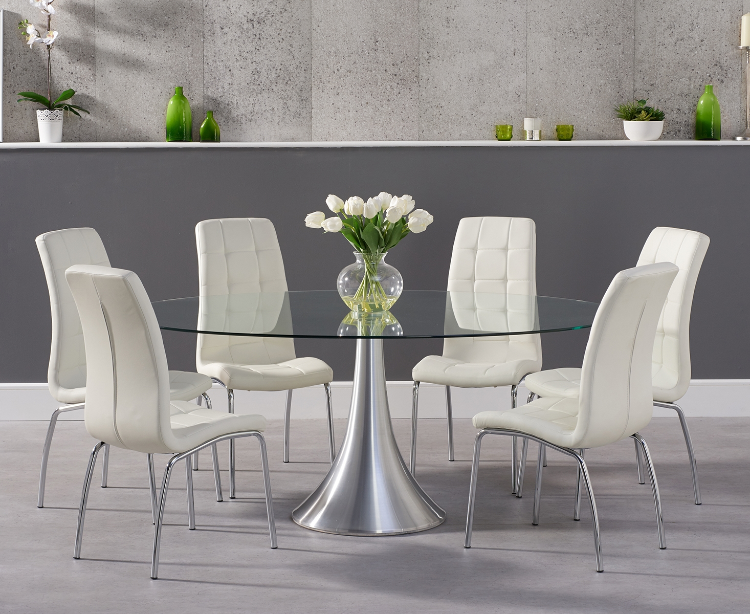 Paloma 9cm Oval Glass Dining Table with Calgary Chairs