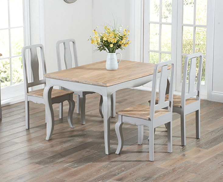 Parisian 130cm Grey Shabby Chic Dining Table With Chairs