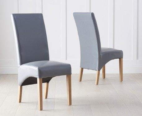 Product photograph showing Cannes Grey Bonded Leather Dining Chairs