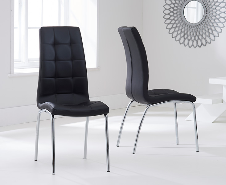 Product photograph showing Calgary Black Faux Leather Dining Chairs
