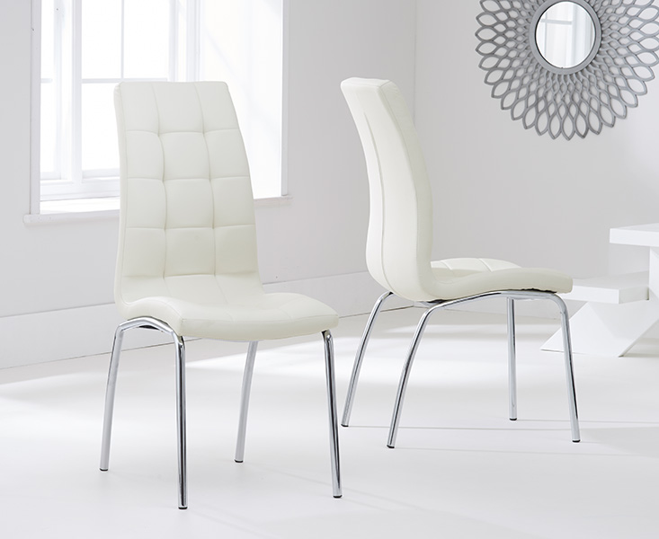 Product photograph showing Calgary Cream Faux Leather Dining Chairs