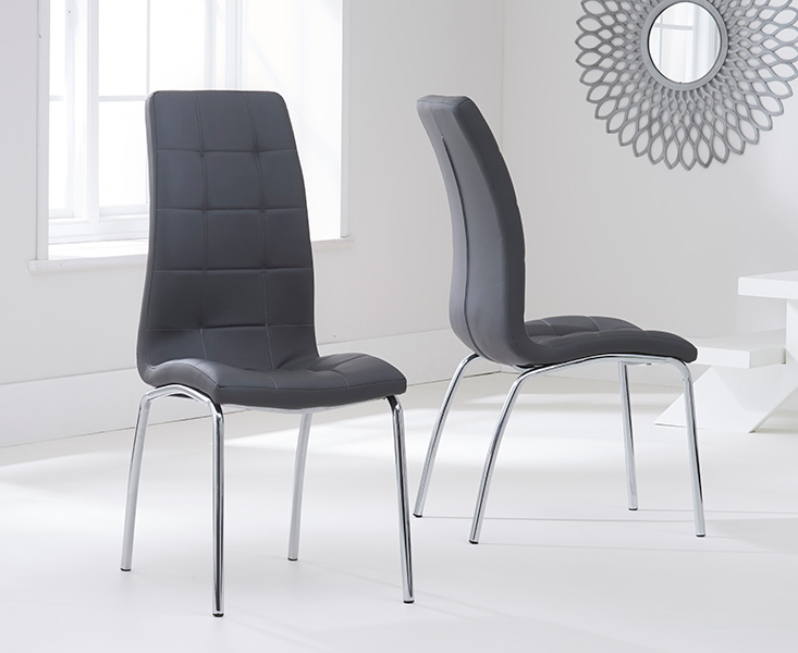 Product photograph showing Calgary Charcoal Grey Faux Leather Dining Chairs