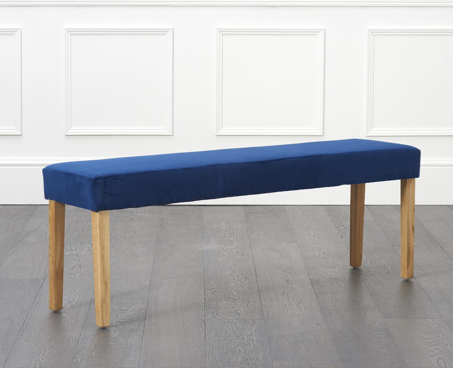 Admirable Mia Large Velvet Blue Bench Unemploymentrelief Wooden Chair Designs For Living Room Unemploymentrelieforg