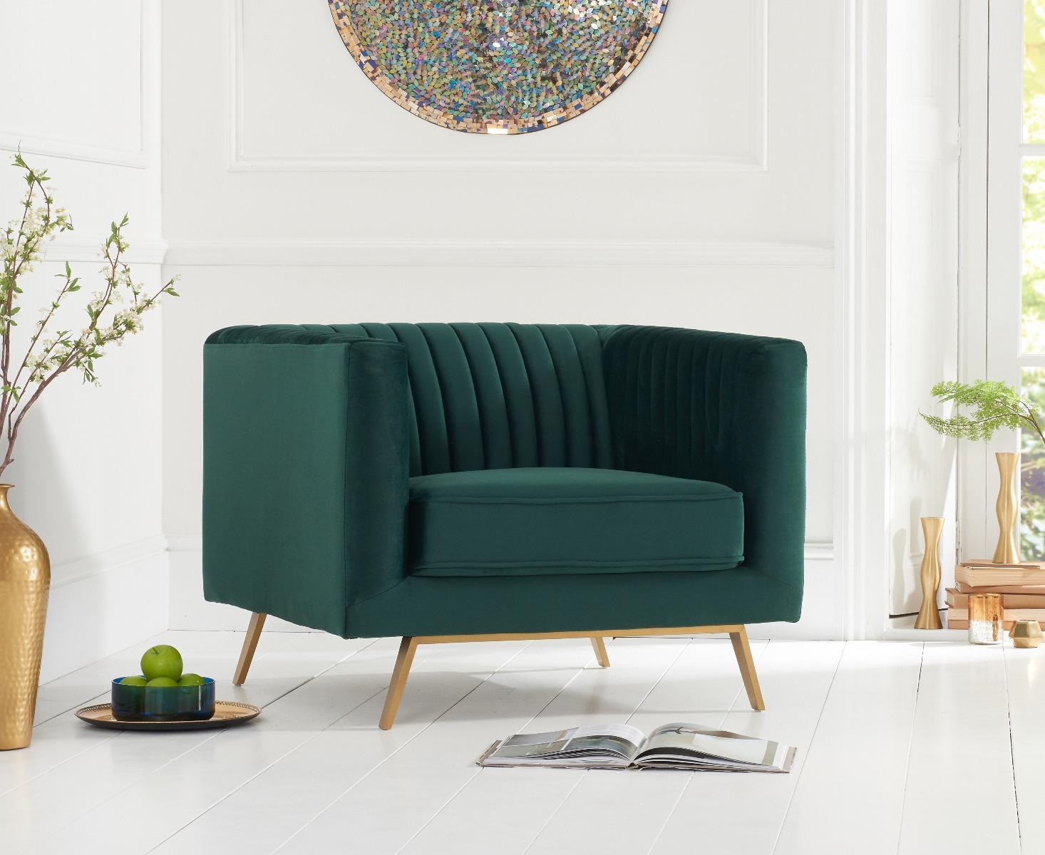 pt danube green velvet armchair