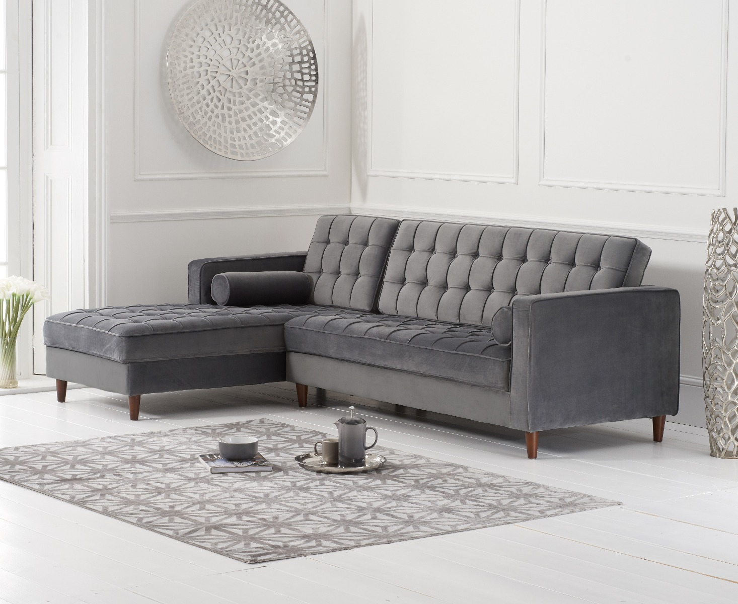 Sensational Atlantic Grey Velvet Left Facing Chaise Sofa Andrewgaddart Wooden Chair Designs For Living Room Andrewgaddartcom