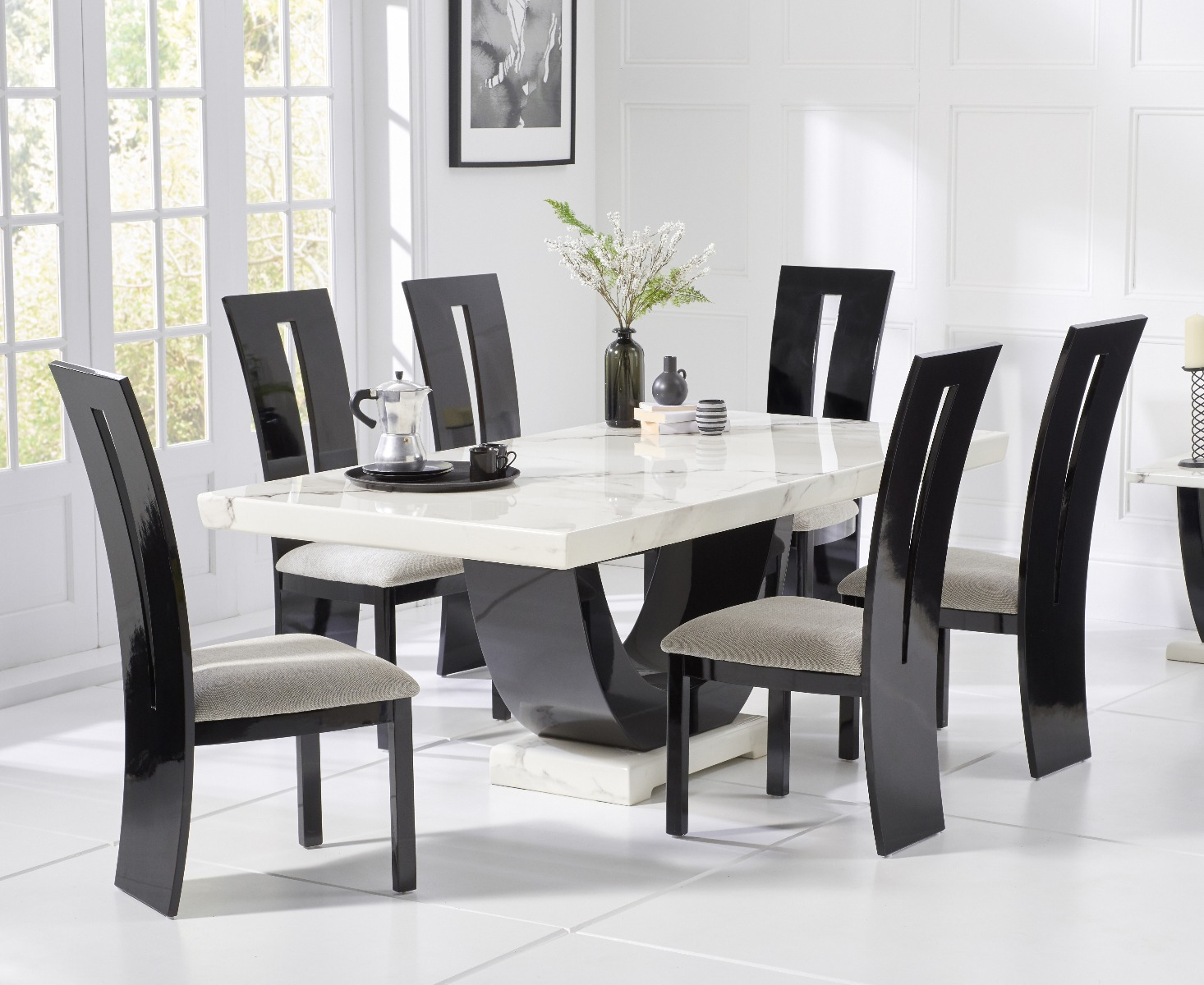 Picture of: Raphael 200cm White Pedestal Marble Dining Table With Verbier Chairs