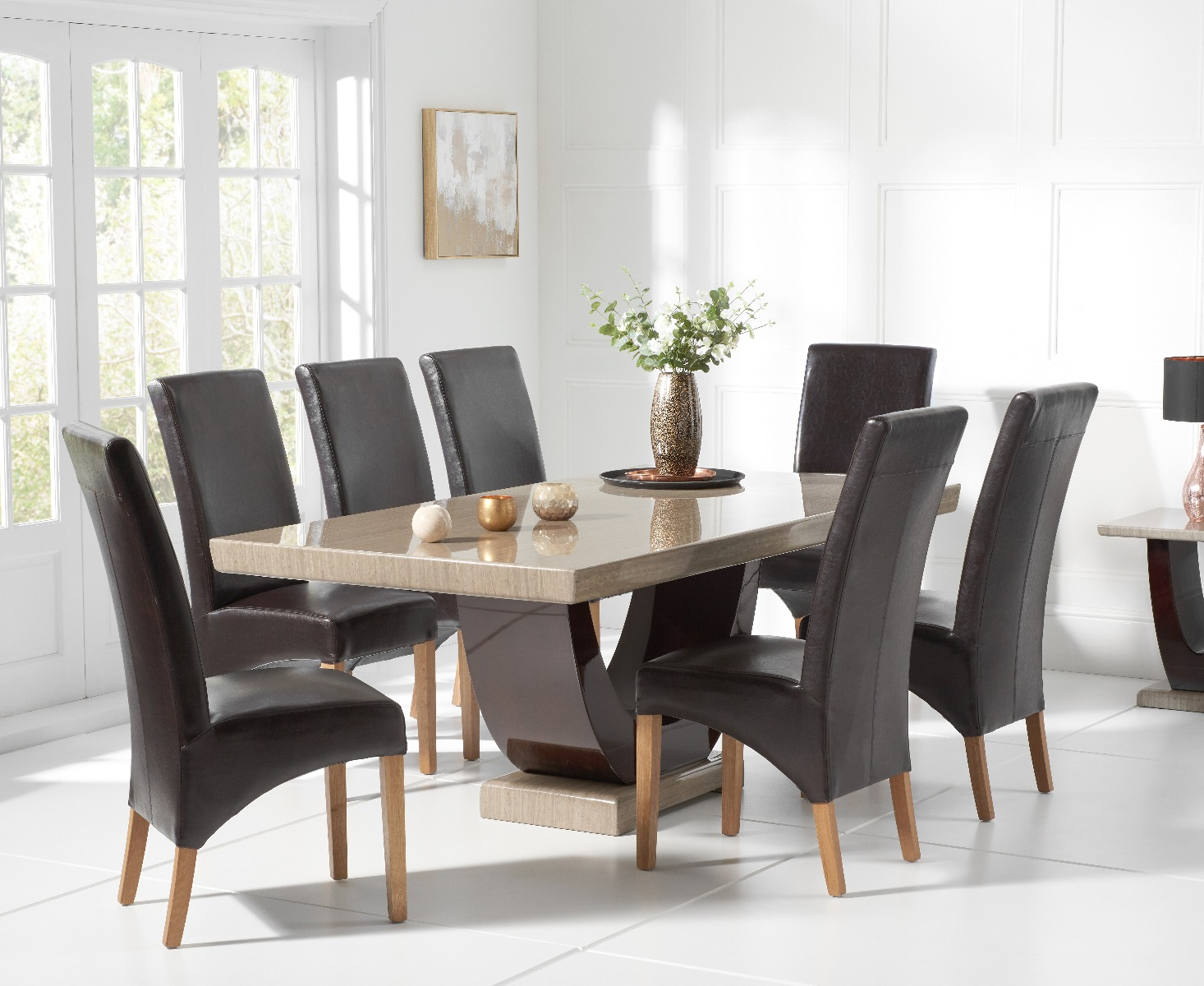 Raphael 200cm Brown Pedestal Marble Dining Table With Cannes Chairs