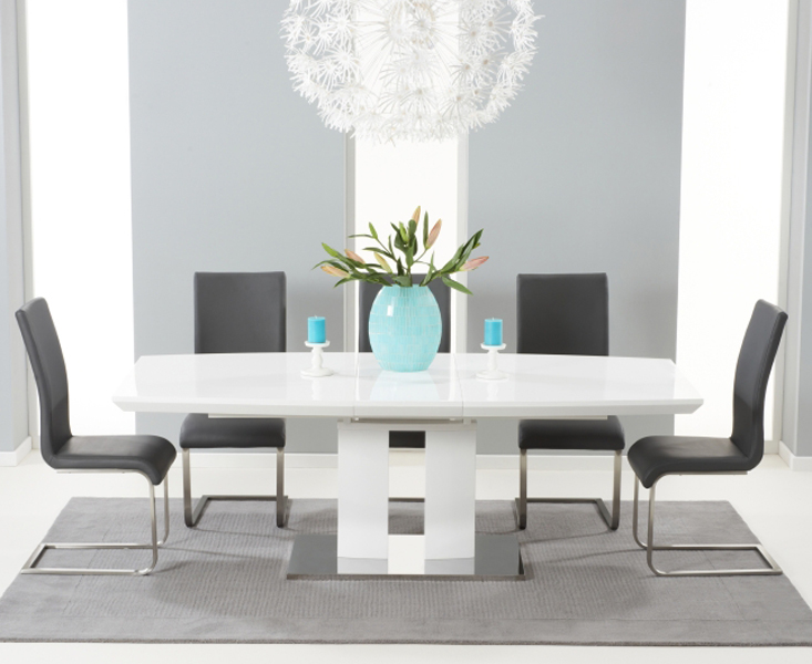 Richmond Cm White High Gloss Extending Dining Table With Malaga - Cheapest white extending dining table